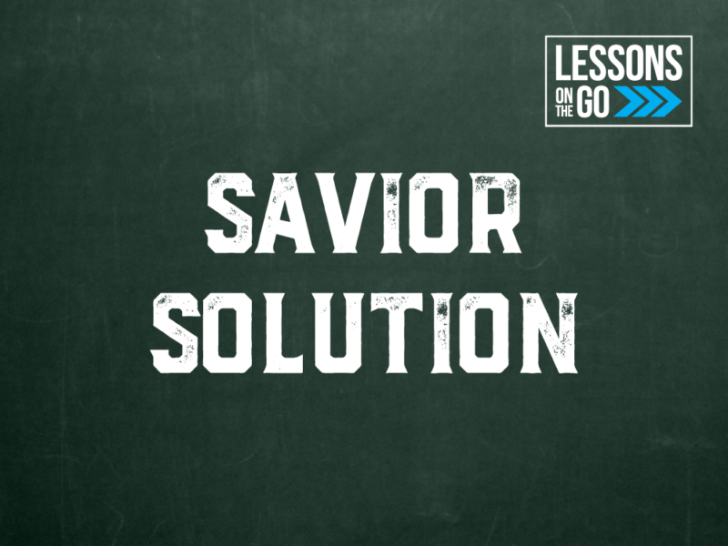 youth ministry lessons on the go Savior Solution